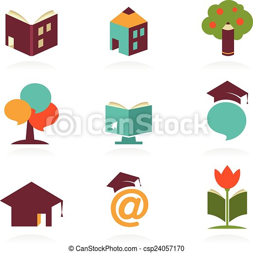 Education Icons And Symbols Online Learning Graduation Concept