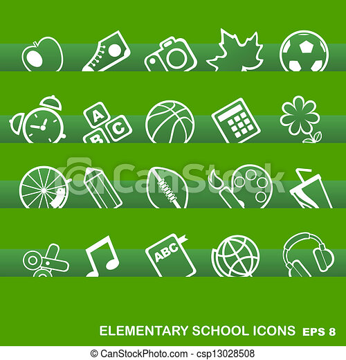 Education Icons, basics, elementary school - csp13028508