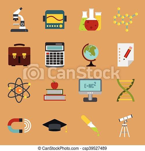 Education icons set, flat style - csp39527489