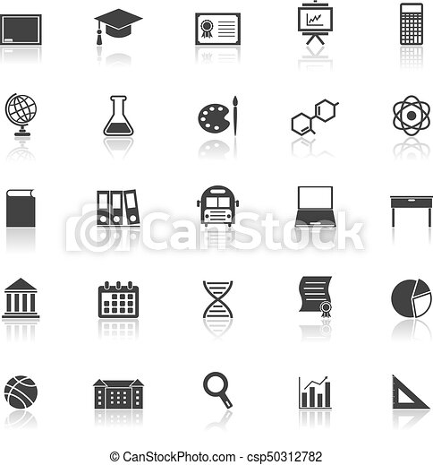 Education icons with reflect on white background - csp50312782