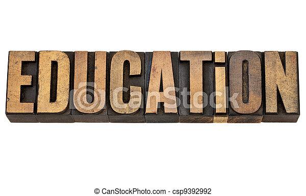 education in vintage letterpress type - csp9392992