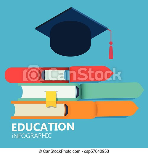 Education Infographic Books Graduation Cap Blue Background Vector Image - csp57640953