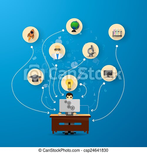education infographic with book stack and icons - csp24641830