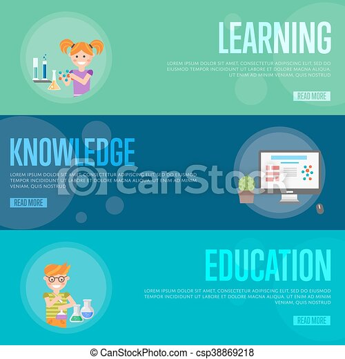 Education Infographics Concept Banners Banners Of Education And Learning Infographics Concept Icons Background Flat Design