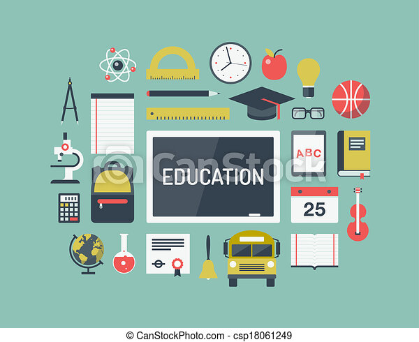 Education items flat icons set - csp18061249
