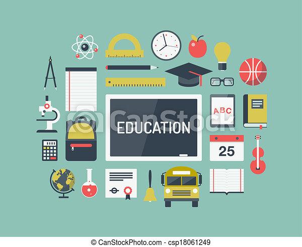 Education items flat icons set - csp18061249