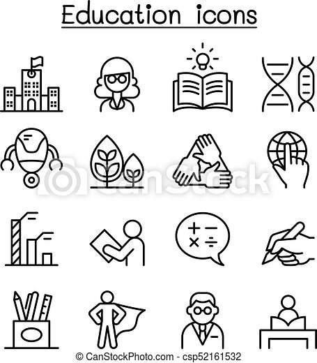 Education & Learning icon set in thin line style - csp52161532