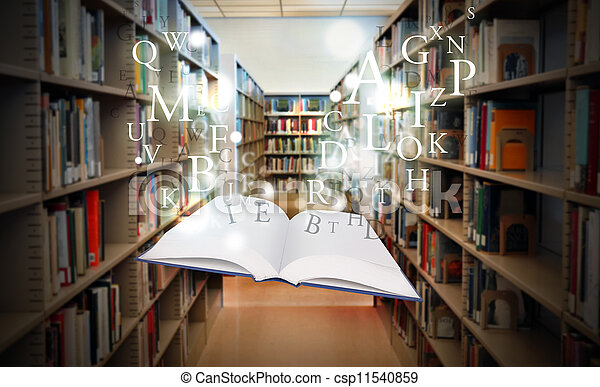 Education Library Book Floating wit - csp11540859