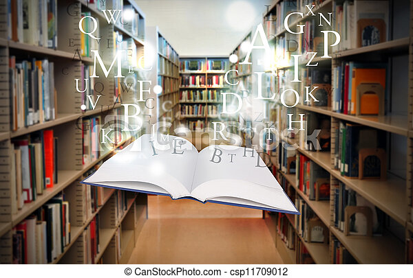 Education Library Book Floating with Letters - csp11709012