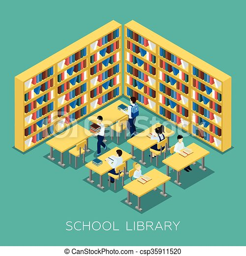education middle school library isometric banner students