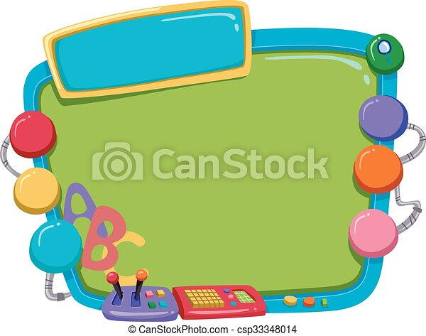 Education monitor frame. Frame illustration of a colorful computer ...