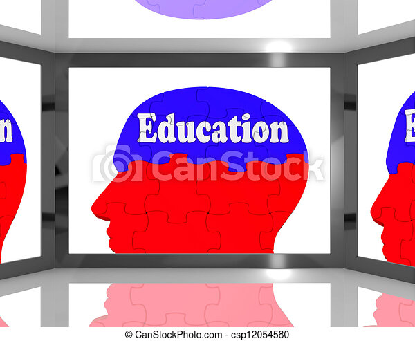 Education On Brain On Screen Shows Human Learning - csp12054580
