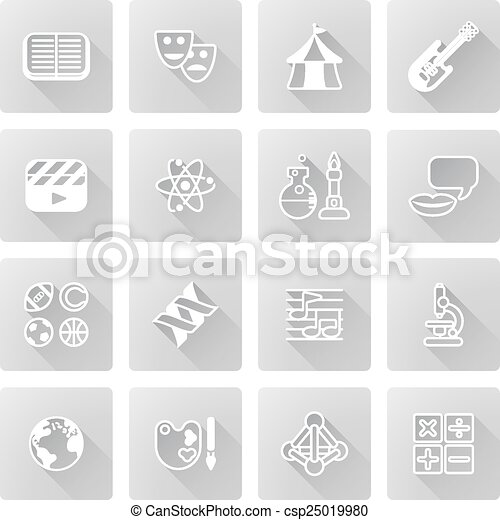 Education Or Quiz Subject Icons Covering Math Sports Music
