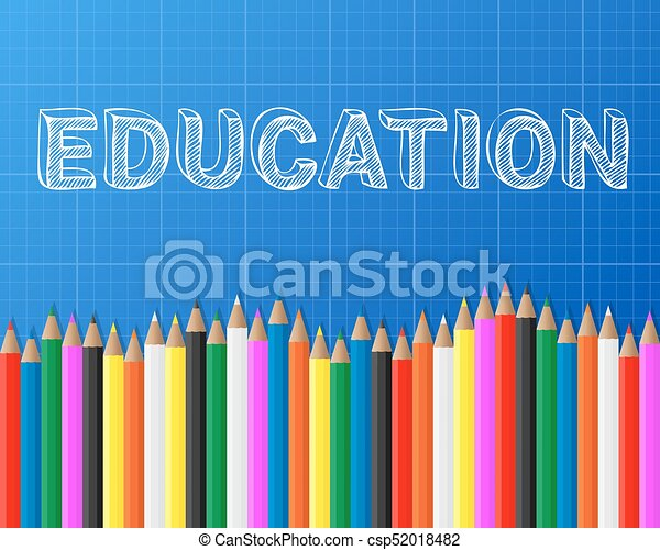 Education pencils blueprint education word on blueprint vector education pencils blueprint csp52018482 malvernweather Images