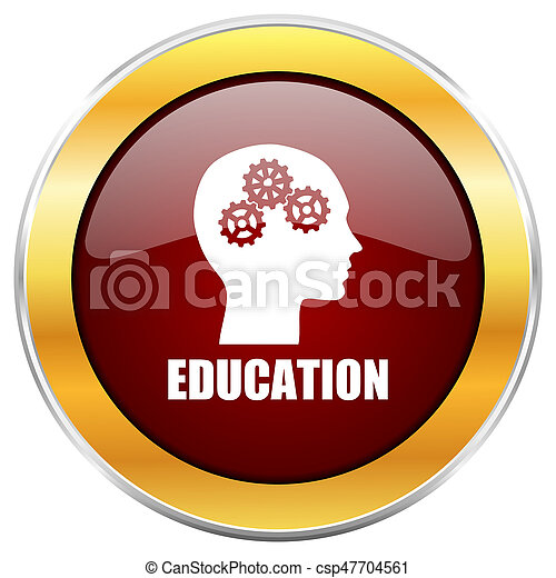 Education red web icon with golden border isolated on white background. Round glossy button. - csp47704561