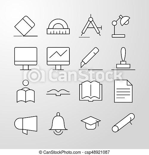 Education, school, University thin line vector icon