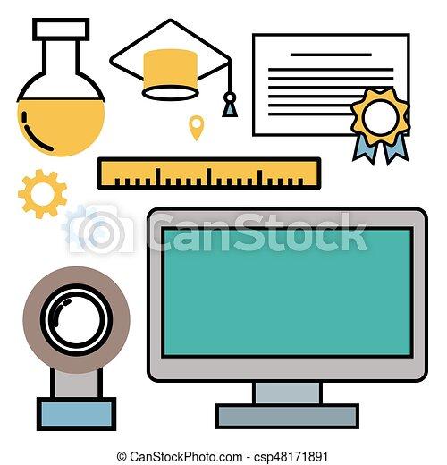 education school vector illustration web outline icons set eps rh canstockphoto com