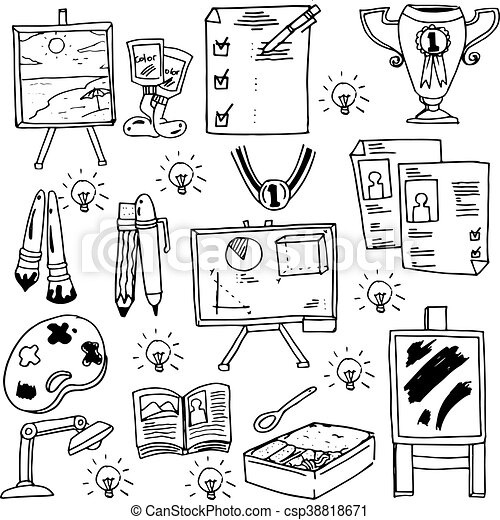 Education suplies doodles school collection - csp38818671