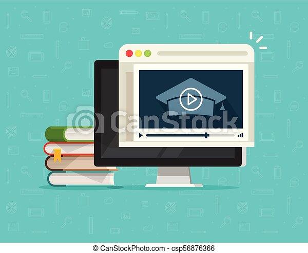 Education via online video on computer vector illustration, flat cartoon desktop pc and video webinar courses, concept internet learning, digital distance study, web tutorial clipart - csp56876366