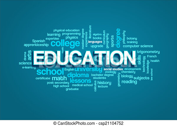 Education Word Cloud Bubble Tags Tree Detailed Vector - csp21104752