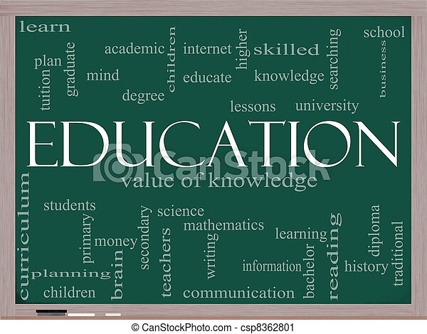 Education Word Cloud Concept on a blackboard - csp8362801