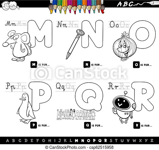 Educational Alphabet Letters Set Color Book Black And White Cartoon