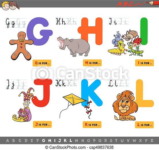 educational cartoon alphabet for kids - csp49837638