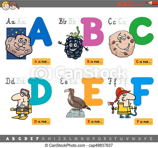 educational cartoon alphabet letters - csp49837637