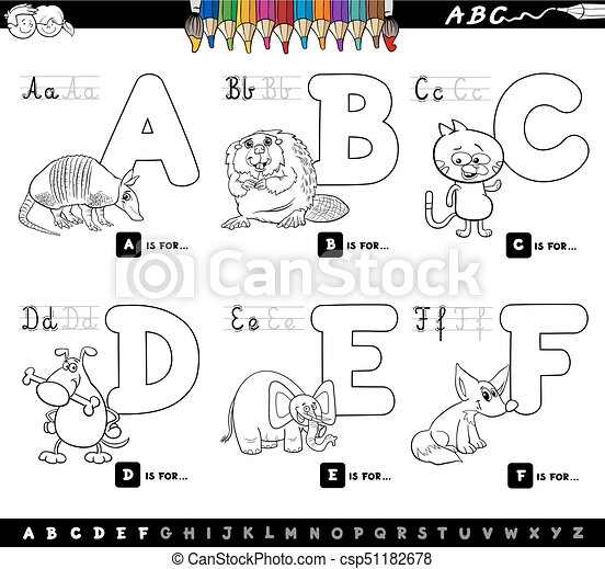 Alphabet Pictures For Each Letter Black And White.Educational Cartoon Alphabet Letters For Coloring