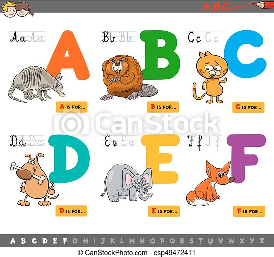 educational cartoon alphabet letters for learning - csp49472411