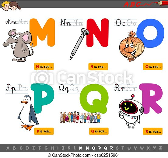 educational cartoon alphabet letters set - csp62515961