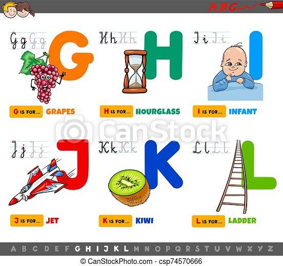 educational cartoon alphabet letters set for children - csp74570666
