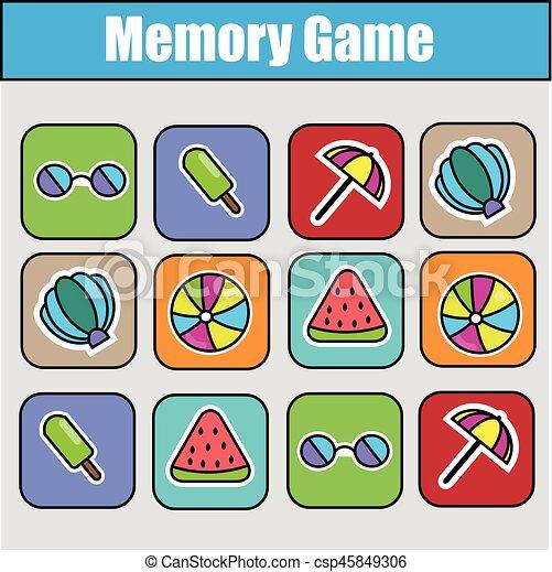 Educational children game, kids activity. memory game,... vector ...