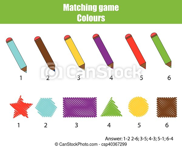 Educational children game. Matching game, learning colors
