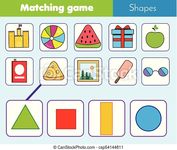 Educational children game. Matching game worksheet for kids. Match by shape