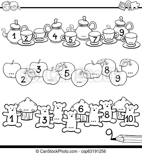 educational counting to ten task color book - csp63191256