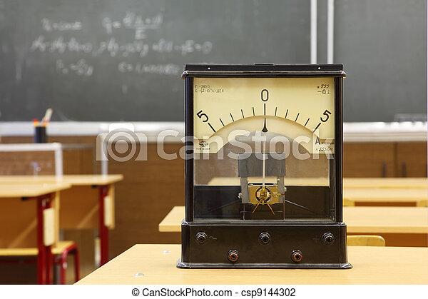 Educational galvanometer with not real number 555 on yellow desk in empty physics school class; formula on blackboard - csp9144302