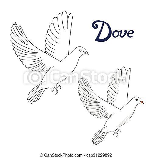 Educational Game Coloring Book Dove Bird