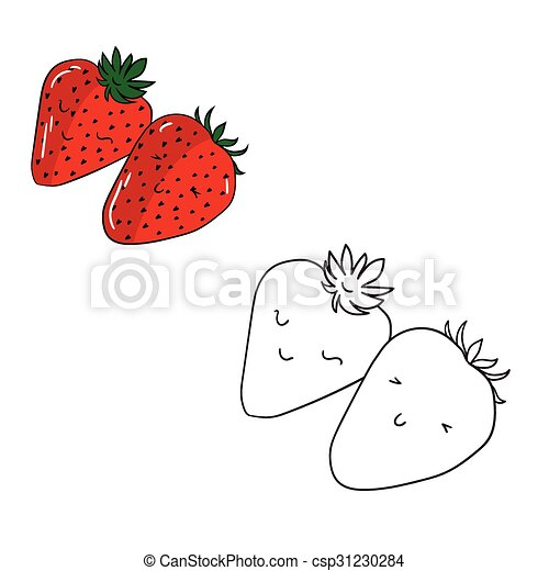 Educational Game Coloring Book Strawberry Fruit Cartoon Doodle Hand Drawn  Vector Illustration. CanStock