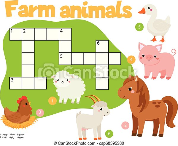 Educational Game For Children Farm Animals Crossword Puzzle Kids Activity Learning English Vocabulary Educational Game For