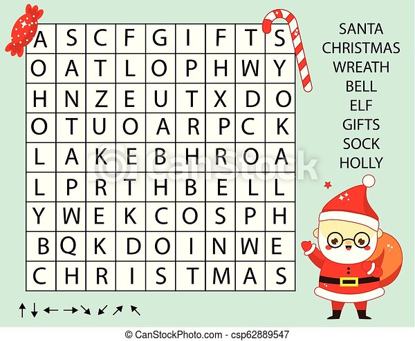 Educational Game For Children Word Search Puzzle Kids Activity New Year And Christmas Theme Learning Vocabulary