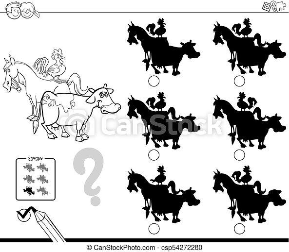 Los animales de granja sombras del libro de color de juegos educativos - csp54272280