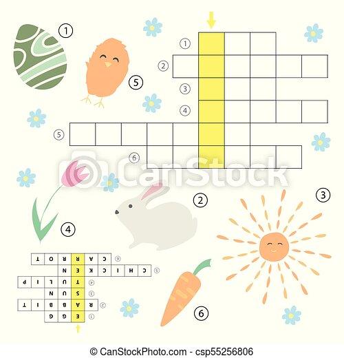 Educativo Puzzle Gioco Cruciverba Tema Answer Cultura Pasqua