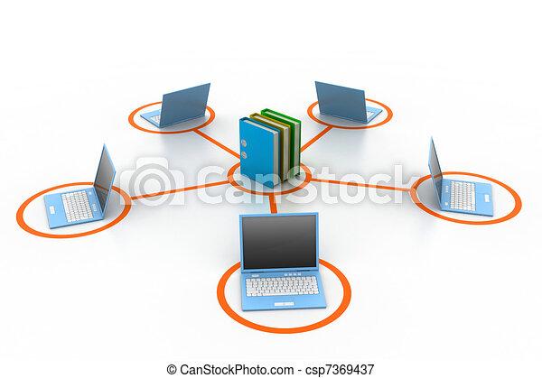 Computer und Dokumente Netzwerk - csp7369437