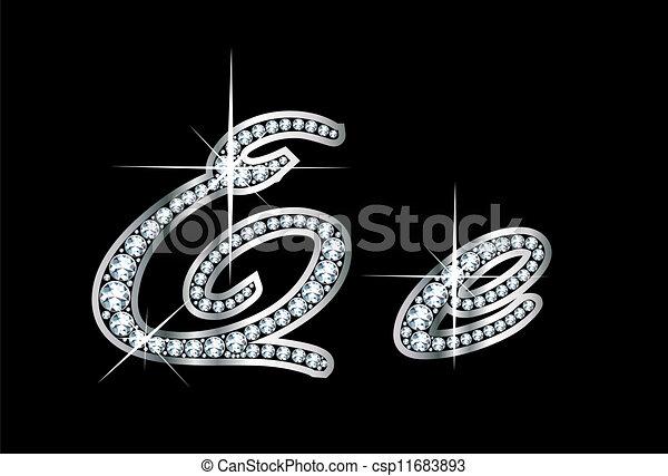 ee, diamante, bling, lettere, manoscritto - csp11683893