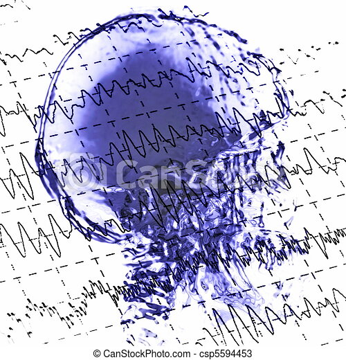 eeg brainwaves and x-ray skull - csp5594453