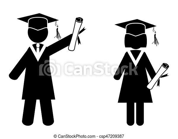 een diploma behaald, figuren, stok - csp47209387