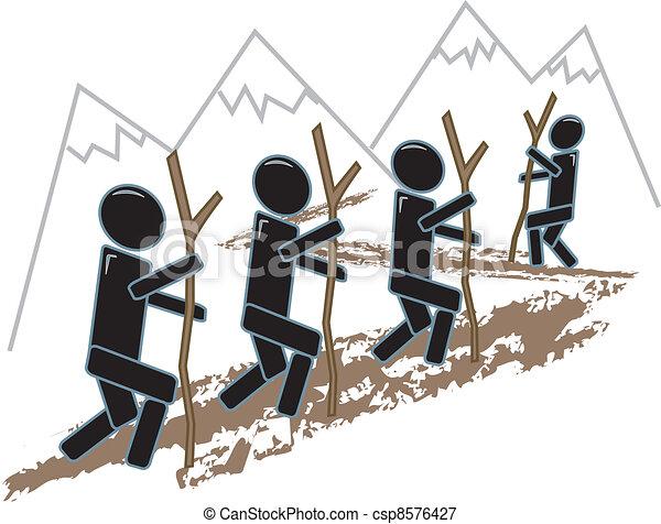 eenvoudig, figuren, wandelende - csp8576427