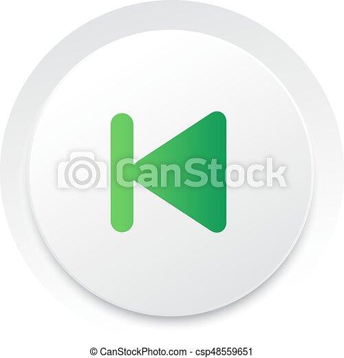 eenvoudig, knoop, vector, muziek, interface, ui, cirkel, vorig - csp48559651