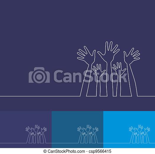 eenvoudig, lijn, illustratie, hands. - csp9566415